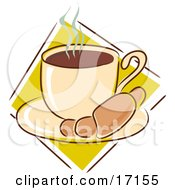 Breakfast Croissant On A Saucer With A Hot Cup Of Coffee Clipart Illustration