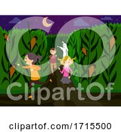Poster, Art Print Of Stickman Teens Corn Maze Run Monster Illustration