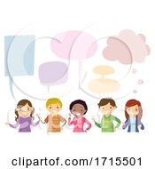 Teens Different Speech Bubbles Illustration