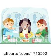 Stickman Teens Eat Friends Pizza Illustration