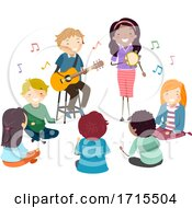 Teens Guitar Tambourine Singing Illustration