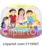 Poster, Art Print Of Stickman Teens Play Board Game Illustration