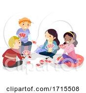 Poster, Art Print Of Stickman Teens Play Card Game Illustration