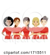 Teen Girls Team Soccer Players Illustration