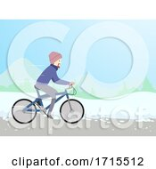 Man Winter Bike Illustration