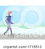 Man Winter Jogging Illustration
