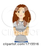 Teen Girl Drum Sticks Illustration