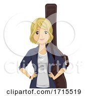 Teen Girl Guitar Case Illustration