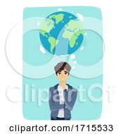 Teen Guy Think Earth Illustration