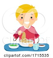 Poster, Art Print Of Stickman Teen Guy Eat Asian Food Illustration