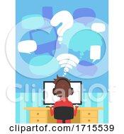 Poster, Art Print Of Teen Guy Back Online Gamer Home Talk Illustration
