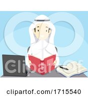 Teen Guy Student Qatar Study Illustration