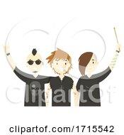 Teens Guys Band Members Illustration