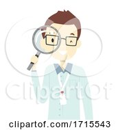 Teen Guy Intern Magnifying Glass Illustration