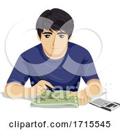 Teen Boy Solve Math Calculator Illustration