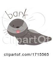 Poster, Art Print Of Seal Onomatopoeia Sound Bark Illustration