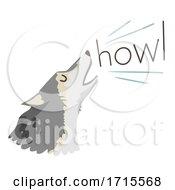 Poster, Art Print Of Wolf Onomatopoeia Sound Howl Illustration