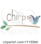 Poster, Art Print Of Bird Onomatopoeia Sound Chirp Illustration
