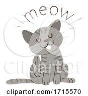 Poster, Art Print Of Cat Onomatopoeia Sound Meow Illustration