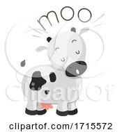Poster, Art Print Of Cow Onomatopoeia Sound Moo Illustration
