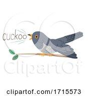 Poster, Art Print Of Cuckoo Bird Onomatopoeia Sound Cuckoo Illustration