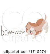 Poster, Art Print Of Dog Onomatopoeia Sound Bow Wow Illustration