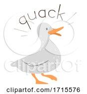 Poster, Art Print Of Duck Onomatopoeia Sound Quack Illustration