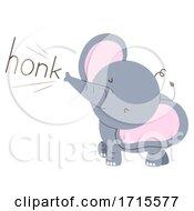 Poster, Art Print Of Elephant Onomatopoeia Sound Honk Illustration