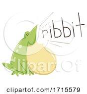 Poster, Art Print Of Frog Onomatopoeia Sound Ribbit Illustration