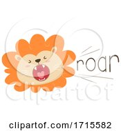 Poster, Art Print Of Lion Onomatopoeia Sound Roar Illustration