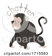 Poster, Art Print Of Monkey Onomatopoeia Sound Chatter Illustration