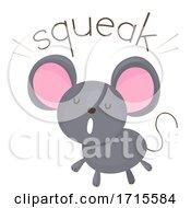 Poster, Art Print Of Mouse Onomatopoeia Sound Squeak Illustration