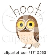 Poster, Art Print Of Owl Onomatopoeia Sound Hoot Illustration