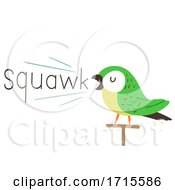 Poster, Art Print Of Parrot Onomatopoeia Sound Squawk Illustration