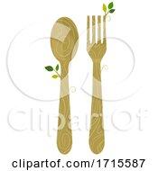 Poster, Art Print Of Spoon Fork Wooden Organic Utensil Illustration