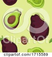 Poster, Art Print Of Seamless Avocado Background Illustration