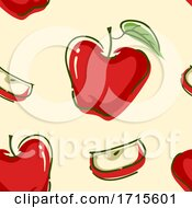 Seamless Red Apple Background Illustration