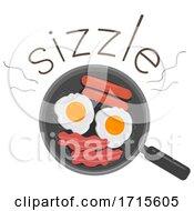 Poster, Art Print Of Cook Fry Onomatopoeia Sound Sizzle Illustration