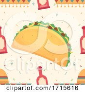 Seamless Taco And Sauce Background Illustration
