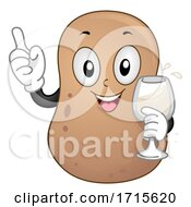 Poster, Art Print Of Mascot Potato Holding Glass Brannvin Illustration