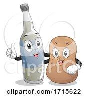 Mascot Wine Bottle Potato Brannvin Illustration