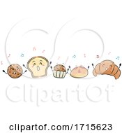 Mascot Bread Pastries Singing Illustration