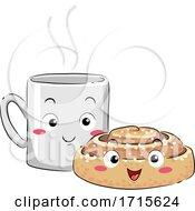 Poster, Art Print Of Mascot Coffee Cinnamon Bun Fika Illustration
