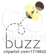 Poster, Art Print Of Bee Onomatopoeia Sound Buzz Illustration