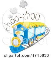 Poster, Art Print Of Train Onomatopoeia Sound Choo Choo Illustration