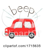 Poster, Art Print Of Car Onomatopoeia Sound Beep Illustration