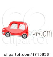 Poster, Art Print Of Car Onomatopoeia Sound Vroom Illustration