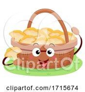 Mascot Basket Chanterelles Picking Illustration