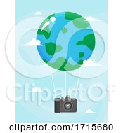 Poster, Art Print Of Earth Camera Air Balloon Travel Illustration