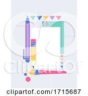 Poster, Art Print Of School Festival Education Flat Frame Illustration